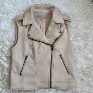Philosophy Faux Suede Moto Vest Sz Small Tan/Cream